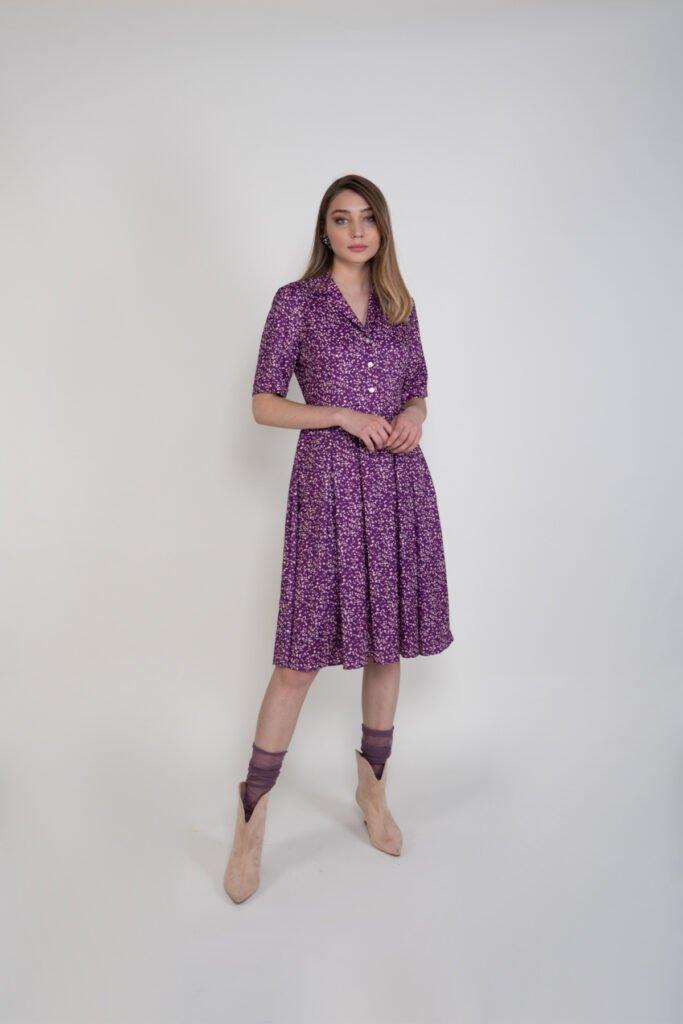 Sembol Kadın Çiçek Desenli Viskon Elbise 9903