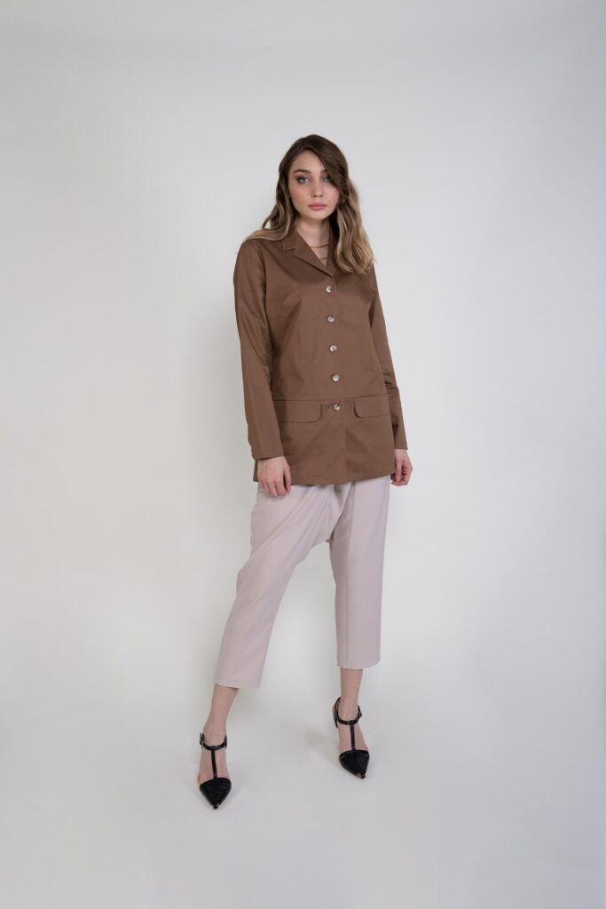 Sembol %100 Pamuk Astarsız Gömlek Efektli Kadın Ceket 4423