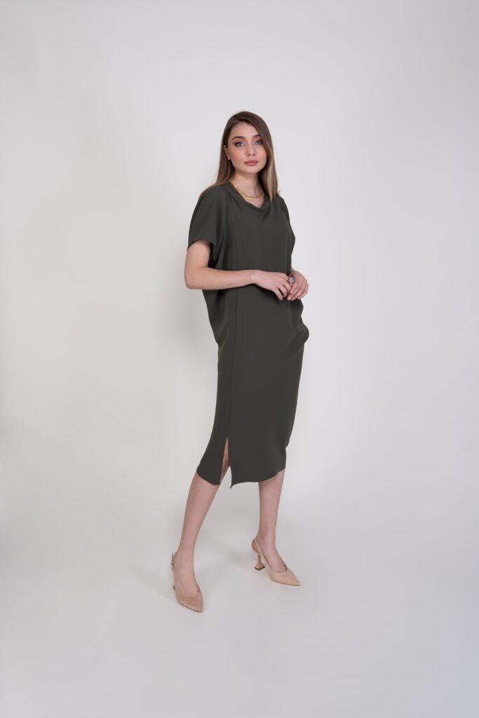 Sembol Giyim Asimetrik Kesim Krep Kadın Elbise 9725