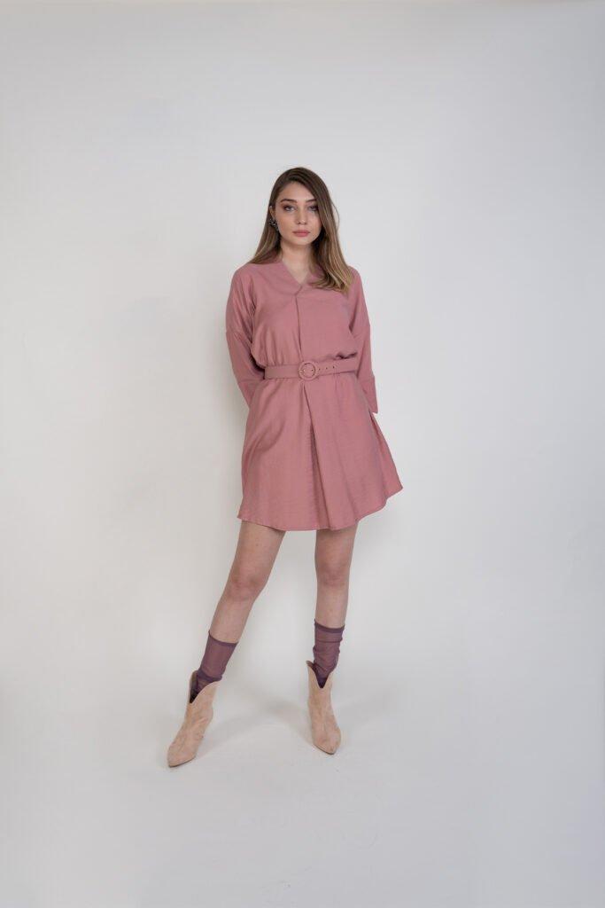 Sembol Kadın Kemer Detaylı Keten Elbise 9860