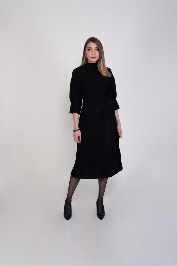 Sembol Giyim Kemer Detaylı Pilise Etekli Kadın Elbise 9873
