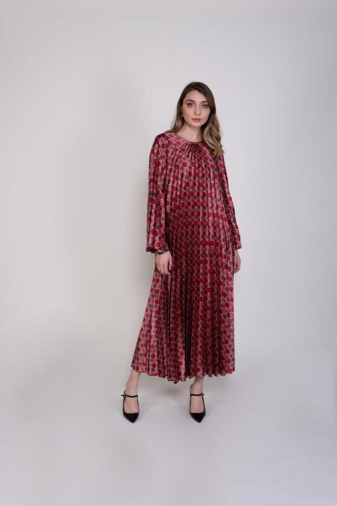 Sembol Giyim Piliseli Bedensiz Kaftan Elbise 988801