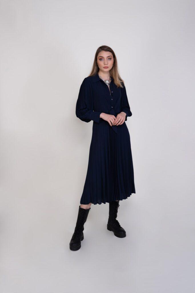 Sembol Giyim Beli Bağlama Detaylı Kadın Elbise 989001