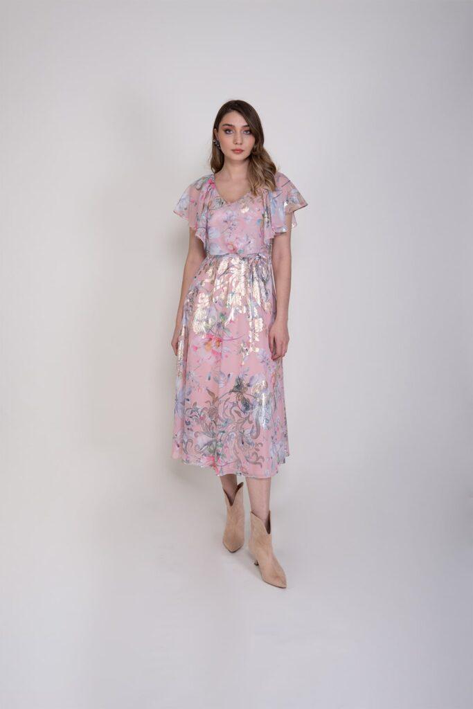 Sembol Giyim Varak Basklılı Şık Kadın Elbise 9901