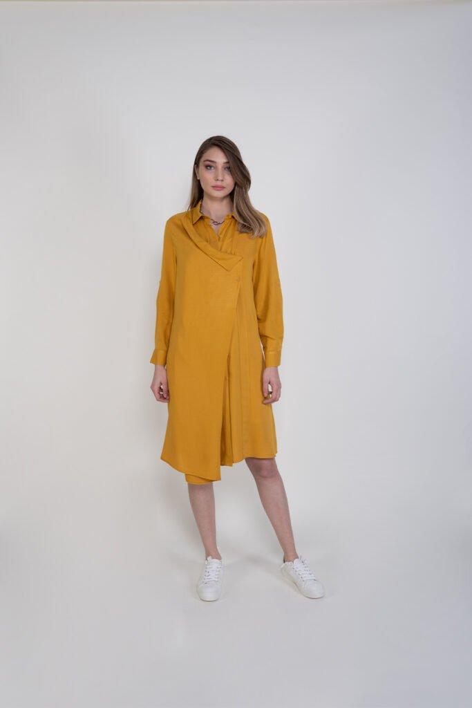 Sembol Kadın Asimetrik Ön Kapama Rahat Kesim Elbise 9904