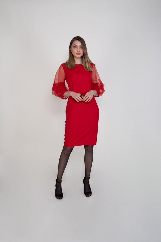 Sembol Giyim Organze Kollu Krep Şık Kadın Elbise 9909