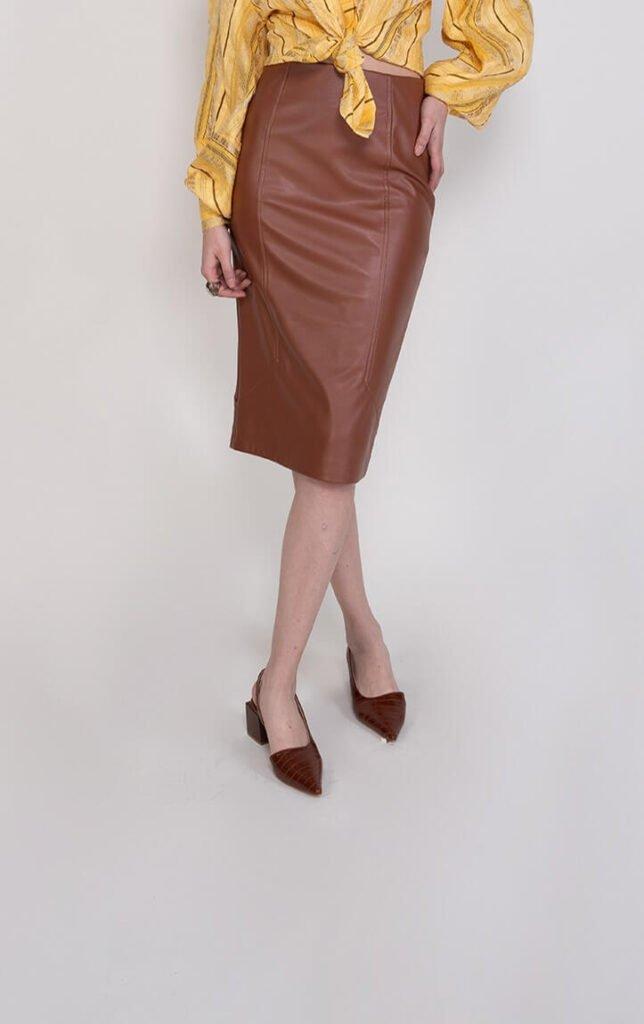 Sembol Giyim Suni Deri Şık Kadın Etek 2320