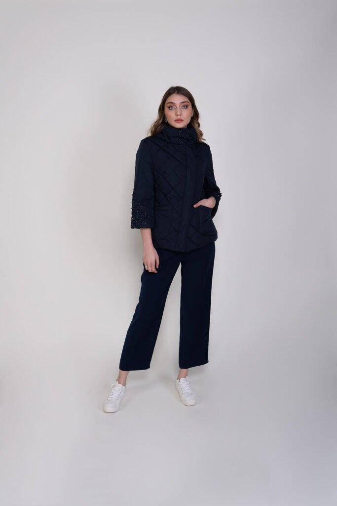 Sembol Giyim Kolları Taş İşlemeli Şık Kadın Mont 5148