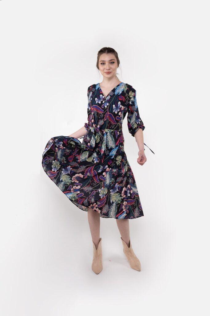 Kol Ağzı Baglama Detaylı Kadın Elbise 983901