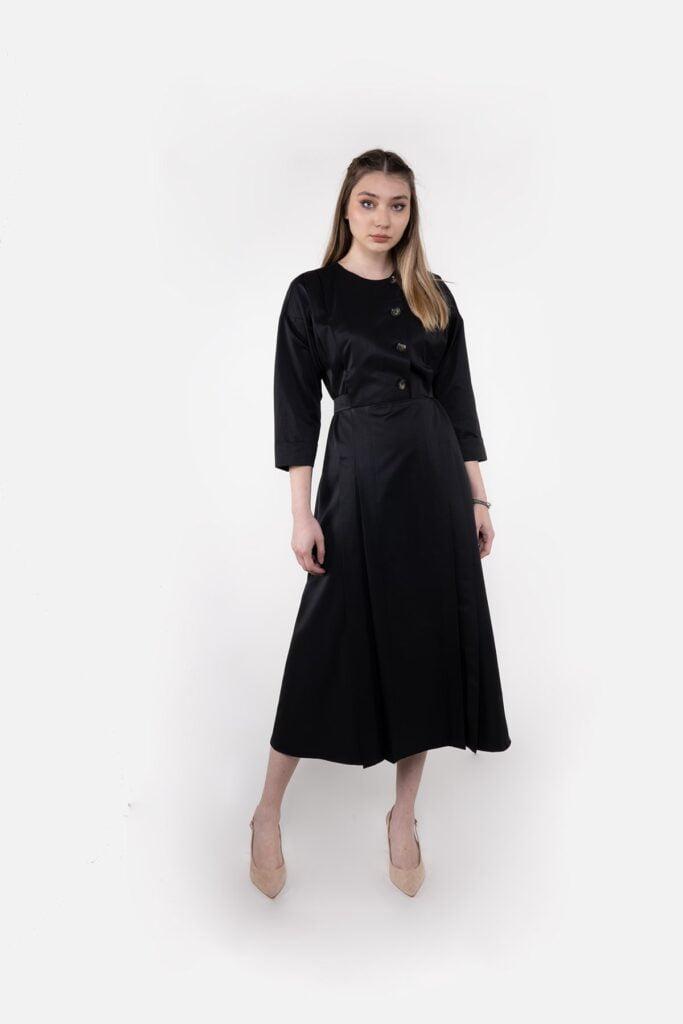 Sembol Giyim Arkada Bağlama Kemer Detaylı Kadın Elbise 9911