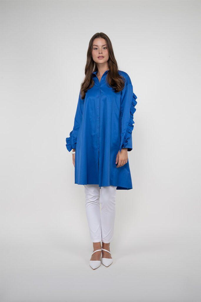 Sembol Giyim Kolları Detaylı  Elbise Kullanımlı Kadın Tunik 982302